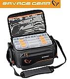 Savage Gear System Box Bag L (24x47x30cm) Tasche inkl. 4 Köderboxen, Angeltasche, Ködertasche zum Spinnfischen, Anglertasche inkl. Angelboxen, Tasche für Kunstköder