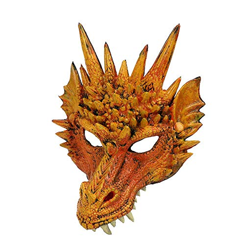 ldy Halloween Maske Horror Halbmaske PU Drachen Maske Cosplay Kostüm Maske für Maskerade, Spoof, Karneval Party gelb (Horror Spoof Kostüm)