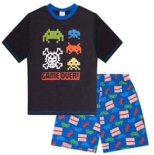 The Pyjama Factory Jungen Spiel über Space Invader Short Schlafanzug Nachtwäsche Schlafanzug (10-11 Jahre 146cm)
