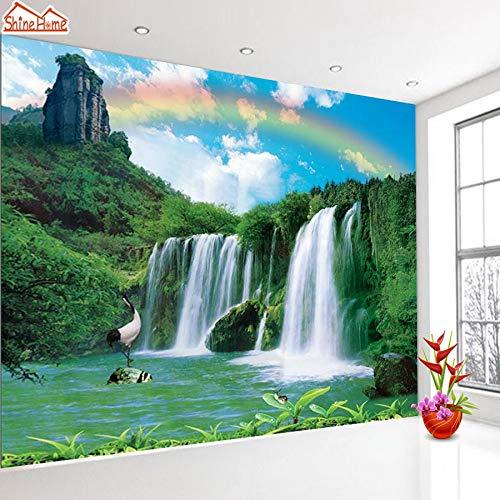 KYKDY Natur Wasserfall Regenbogen Forest Lake 3d Fototapetenrollen für Wände 3 d Wohnzimmer Tapeten Wandbild Rollenpapier, Fototapeten, Geprägtes Material