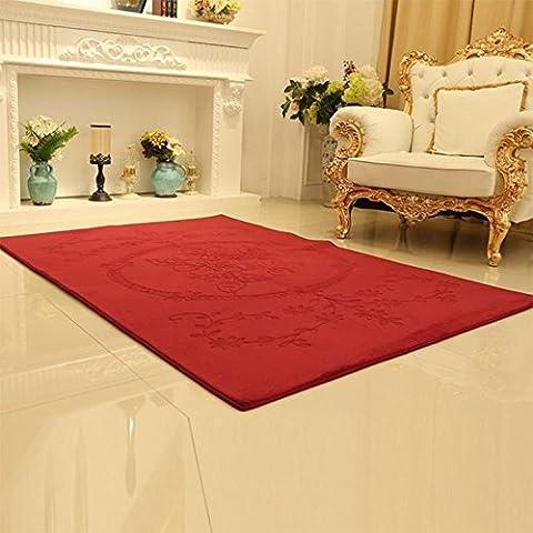 GUO-soggiorno grande tappeto tavolino mat tappeto divano 140 * 200cm Coral velluto ricamato tappeto