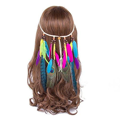 AWAYTR Hippie Boho Quaste Stirnband Feder Haar Schmuck Bohemien (Bohemienne Kostüm)
