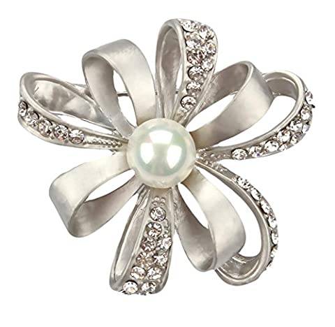 Hosaire 1X Fashion Pearl Flower Brooch Pin Rhinestone Covered Scarves Shawl Clip For Women Ladies(Sliver)