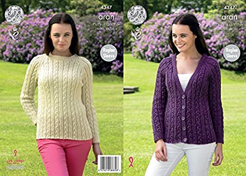 King Cole 4347 Knitting Pattern Raglan Sleeve Cardigan and Sweater in King Cole Fashion Aran