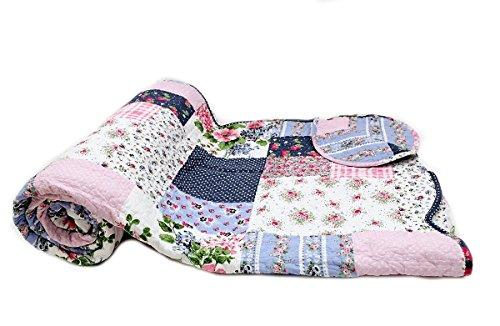 1001Wohntraum D de 12Quilt Jana, Plaid Colcha patchwork Vintage,, Multicolor, 100% algodón, 240 x 260 cm