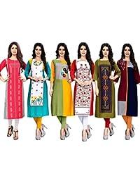 1 Stop Fashion Women's Crepe Straight Kurta (Pack of 6)