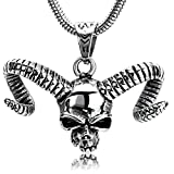 Die besten Bishilin Freunde Halskette für Jungen - Bishilin Herren Partnerketten Edelstahl 3D Schädel Totenkopf Horn Bewertungen
