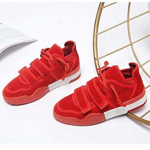 Hwf Chaussures Pour Femmes Chaussures De Sport De Printemps Chaussures À Fond Épais Chaussures Pour Dames Chaussures Décontractées (couleur: Noir, Taille: 39) Rouge