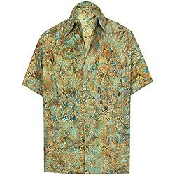 LA LEELA Fiesta en la Playa de Hawai Cuello difusión Informal de Manga Corta de los Hombres de la Camisa Hawaiana Bolsillo Delantero XXL-Pecho Contorno (in cms):137-149 Mostaza_AA160