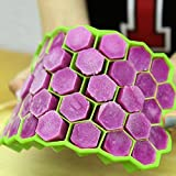 Skyfun Flexible Silicone Honeycomb Shape Ice Cube Create Perfect 37 Grids Cavity Mold for Cocktail,Whiskey,Coffee,Fruit Juice,Soft Drink-Multi Color