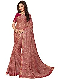 Vishal Prints Designer Red Georgette Printed Saree With Fancy Border With Blouse Piece