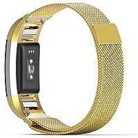 MoKo Armband für Fitbit Charge 2 - Milanaise Edelstahl Replacement Wrist Band Strap Watchband Uhrband Uhrenarmband Erstatzband mit Magnet-Verschluss und Metallschließe für Fitbit Charge 2 Smartwatch Zur Herzfrequenz und Fitnessaufzeichnung, Gold
