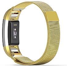 MoKo Fitbit Charge 2 Correa - Milanese Bucle Acero Inoxidable Watch Band de Reloj Strap Bracelete + Conector para Fitbit Charge 2 Heart Rate + Fitness Pulsera ( NO INCLUIYE EL RELOJ Y MARCO), Oro