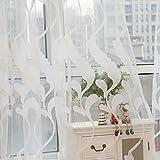 Hukz Vorhang-Tulle-Fenster-Behandlung des Weizen-Sheer Voile-drapieren Volant 1 Platten-Gewebe (weiß)