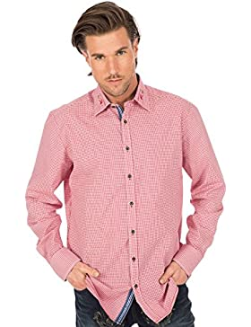 orbis Textil Trachtenhemd Bestickter Kragen Rot Karo