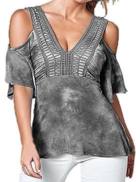 Vovotrade De la camiseta de la camisa hueco del verano de las mujeres del cuello del hombro V media manga Blusa...