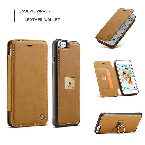 Handy-Hüllen & Hüllen, Für iPhone 6s / 6 Fall, iPhone 6s / 6 Wallet Case, CaseMe Premium PU Leder Flip Wallet Case mit Kartensteckplatz, abnehmbarer Magnetischer Fingerring ( Farbe : Coffe ) Gelb