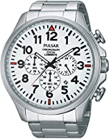 Pulsar PT3321X1 - Reloj con correa de acero para hombre, color blanco / gris de Pulsar