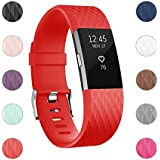 For Fitbit Charge 2 Bands, Adjustable Replacement Bands With Metal Clasp For Fitbit Charge 2 Wristbands Special Edition Red Large