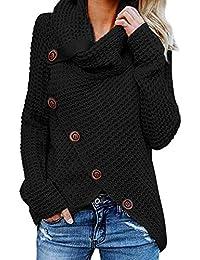 GOSOPIN Damen Pullover lose Pullis Langarm Oberteil Rollkragen Outwear S-XXL