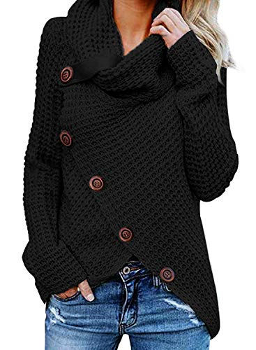 GOSOPIN Damen Pullover lose Pullis Langarm Oberteil Rollkragen Outwear S-XXL, Schwarz #1, L