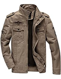 50ddf250564 WS668 Mens Stand Collar Washed Cotton Coat Casual Classic Retro Military  Jackets