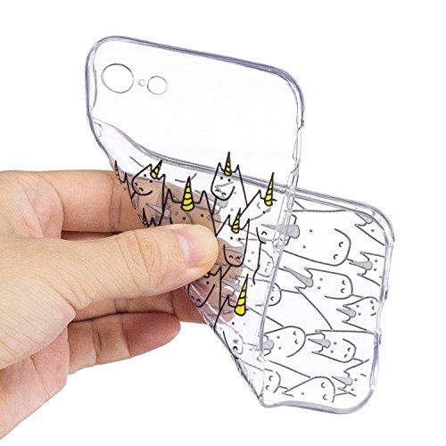 iPhone 7 Custodia Transparente, iPhone 7 Cover Silicone, JAWSEU Super Sottile Crystal Chiaro Custodia per Apple iPhone 7 Bumper Corpeture Case Creativo Disegno Antiurto Anti-scratch Shock-Absorption S Unicorno