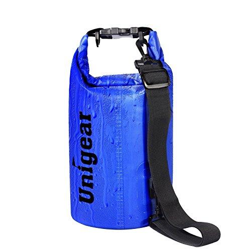 Unigear Sport und Outdoor Trockentasche Dry Bag Wasserdichter Sack Wasserfester Packsack Trockenbeutel zum Bootfahren Wandern Kajaken Kanufahren Schwimmen Snowboarden mit wasserdichter Handyhülle, Blau, 5L