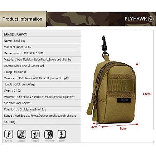 FLYHAWK Taktisch Klein Mini Molle Beutel Tasche Mobil Satteltasche Outdoor Sport Hüfttasche Bauchtasche mit Band Haken A002-Wüsten-Digital