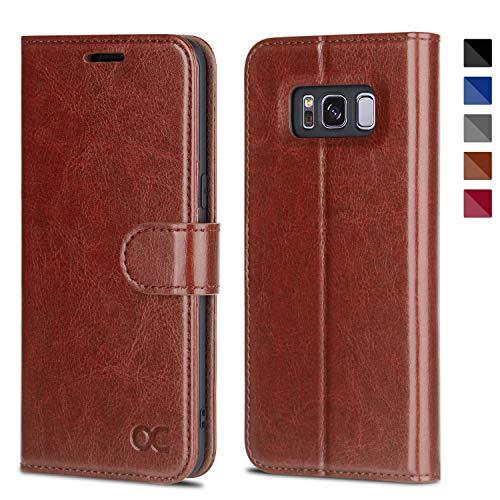 OCASE Samsung Galaxy S8 Hülle, Handyhülle Samsung Galaxy S8 [Premium Leder] [Standfunktion] [Kartenfach] [Magnetverschluss] Schlanke Leder Brieftasche für Samsung Galaxy S8 (5,8 Zoll) (Braun)
