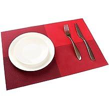 TININNA juego de 4 pcs ,diseño de la rejilla de aislamiento de PVC colorido comedor manteles individuales - comedor manteles para mesa de aislamiento de calor de la estera comer estilo Simple (Rojo)