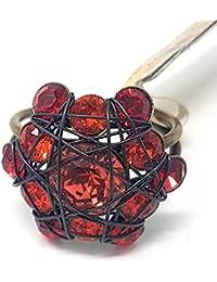 KONPLOTT Bended Lights Damen-Ring, Ringgröße verstellbar, Glas rot -5450527759977