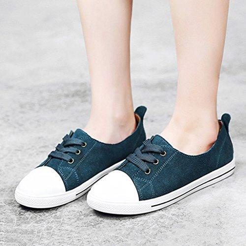 HWF Chaussures femme Printemps Shallow Mouth Single Womens Chaussures Sport Étudiant Plat Chaussures Casual Femme ( Couleur : Bleu , taille : 39 ) Bleu