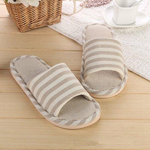 Minetom Femme Hommes Classique rayure Intérieure Coton Lin Maison Chaussons Pantoufles Confortables Sandales Kaki