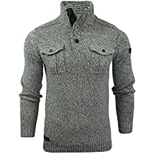 Mens Wool Mix Knit Funnel Neck Jumper by Dissident 'Nitro'