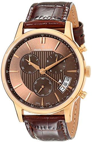 Claude Bernard MFG Men's 42mm Brown Calfskin Band Steel Case Swiss Quartz Chronograph Watch 01002 37R BRIR