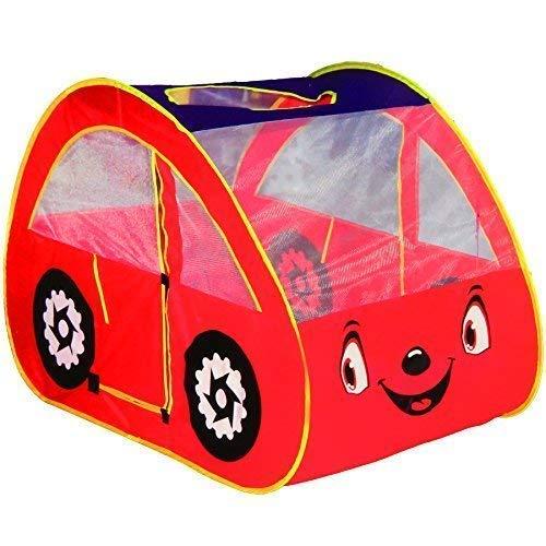 Dominiti Spielzelt Auto in Rot 28192, 131 x 75 x 81 cm, POP-UP Kinderzelt für drinnen und draußen, Zelt für Kinder Spielzeug, Babyzelt Spielhaus Bällebad Babyzelt großes Zelt XXL Auto