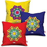 [Sponsored Products]Indibni Decorative Colorful Flower Indian Rangoli Multicolor Cushion Covers 12x12 Set Of 3 With Filler - Housewarming Gifts, Wedding Gift, Engagement Gifts, Christmas Decorations And Decoration For Living Room