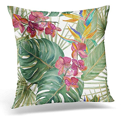 Zierkissenbezüge, Pillow Cover Monstera Watercolor Tropical Pattern with Exotic Flowers Bird of Paradise Orhid Palm and Deliciosa Leaves Pillow Case Square Home Decor Pillowcase 18x18 Inches