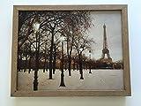 Paris Wandbild mit LED und inkl Rahmen Holz 35 x 45 cm