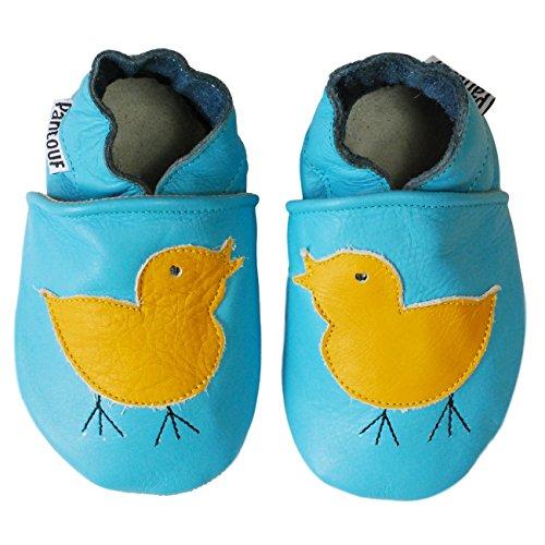 PantOUF Weiches Leder Babyschuhe und Kleinkind schuhe, Krabbelschuhe Hellblau mit einem Küken