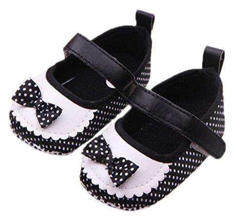 Bigood Mode süße Baby-Mädchen Krabbelschuhe Lauflernschuhe Schleife Seidenstoff Punkt Deko 13 Schwarz Schwarz