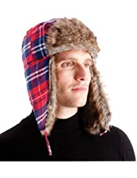 Men's Bright Red Checked Lined Trapper Hat with Faux Fur Trim