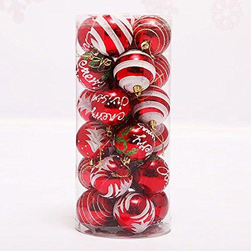 Palla di natale ornamenti, venkaite albero di natale palla decorazioni per alberi di natale, nozze, partito decorazione (24 / pacchetto, pallina verniciata, 2.36 pollici 60mm), rosso