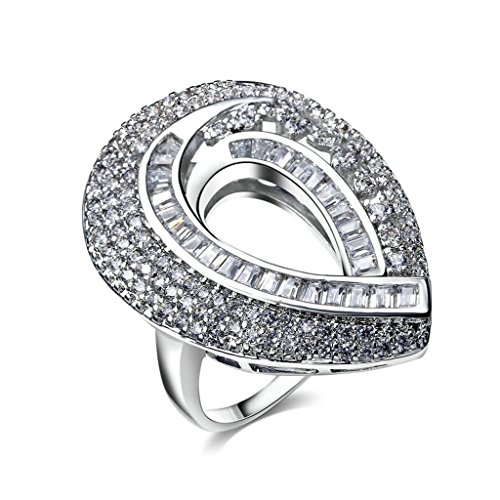 Epinki Edelstahl Damen Ringe Verlobungsringe Solitärring Ring Hohl Tropfen Cubic Zirkonia Gr.57 (18.1) Breit (Kostüm Assassine Muster)
