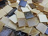 Happy-Mosaic Mosaiksteine 2x2 cm 500g Braun Mix 4 mm Starke lose Glasmosaik Steine zum Basteln