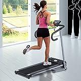 Homcom Tapis de Course Fitness électrique Pliable - 1 à 10 Km/h - écran LCD Multifonctions - Puissance 500 W - Gris foncé Noir