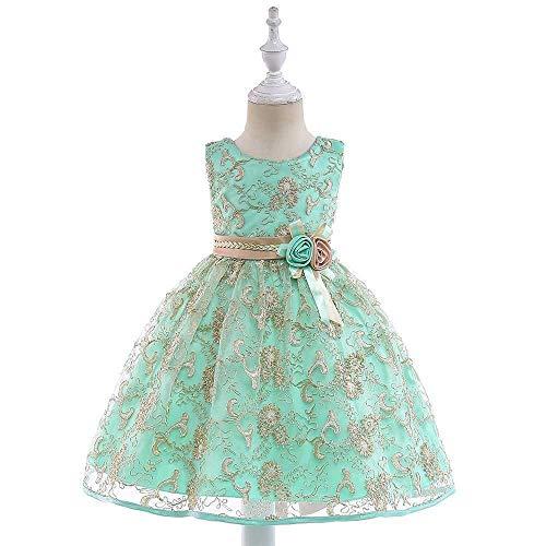 Bademode Mädchen Bowknot Prinzessin Kleid Spitze Mesh Mädchen Kostüm Klavier Performance Kleidung 3-11Years Bikinis (Color : Green, Size : 4-5Years) (Elf Mädchen Kostüm)
