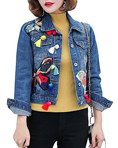 SaiDeng Damen Klassisch Kurz Stickerei Schmetterling Muster Slim Fit Denim Jacke