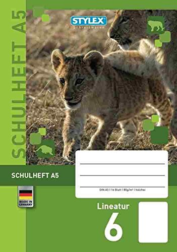Stylex DIN A5–Cuaderno escolar con divertidas forma de animales en varios lineaturen DIN A5